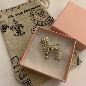 Vintage poodle crystal rhinestone brooch